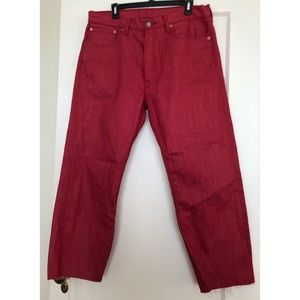 Red raw hem 501 Levi's - W34, L28 ❤️
